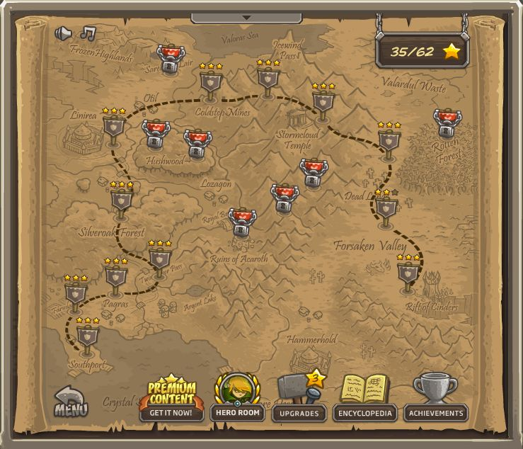 kingdom rush mapa