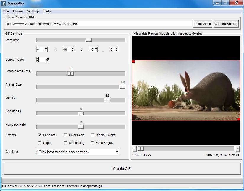 tworzenie animacji gif z wideo